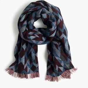J Crew Woven Geometric Scarf Blue Burgundy Wool